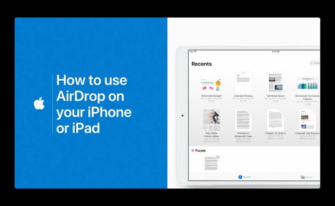 Apple Support、「iPhoneまたはiPadでAirDropを使用する方法」のハウツービデオを公開