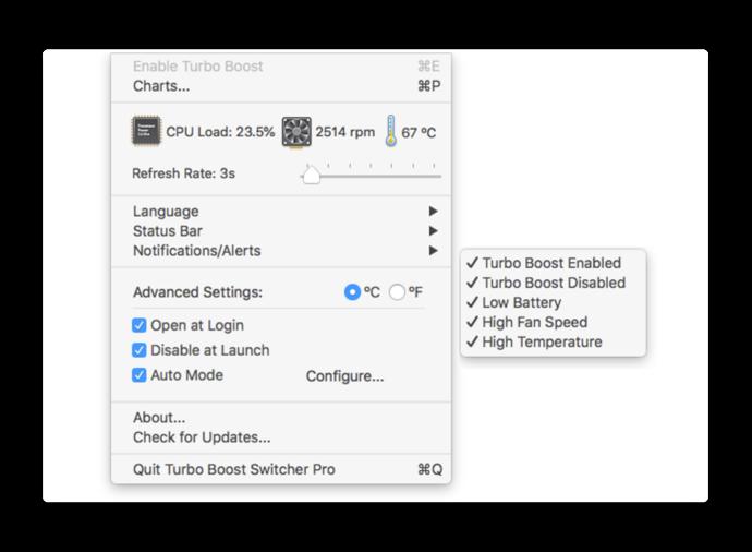 MacBook Pro 2018対応のCPUのパフォーマンスの効果的に省電力モードを実現する「Turbo Boost Switcher」