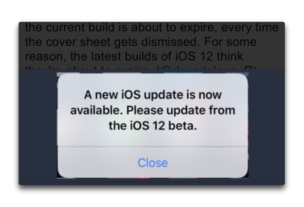現行のベータ版を実行しているiOS 12ユーザーにポップアップで更新を促す