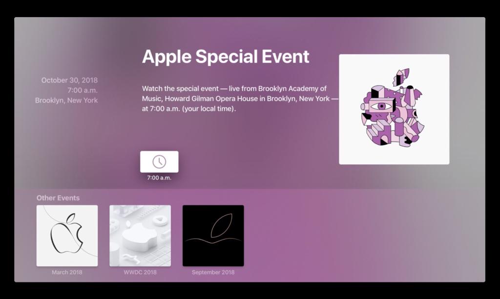 Apple TVのアプリ「Apple Events」が、10月30日のイベントを前にアップデート