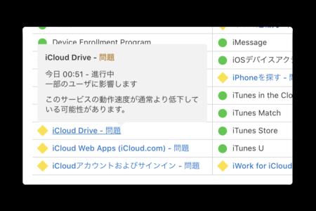 Apple、iCloudの複数のサービスでトラブルが発生しています