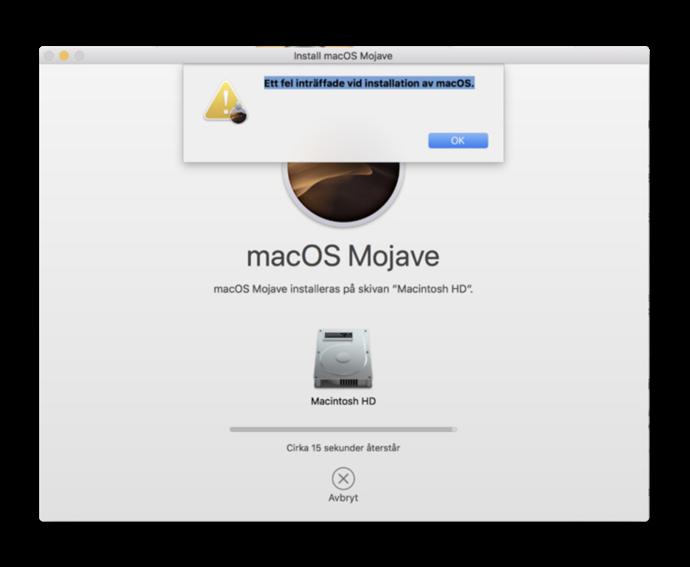 Errors installing macOS Mojave 001