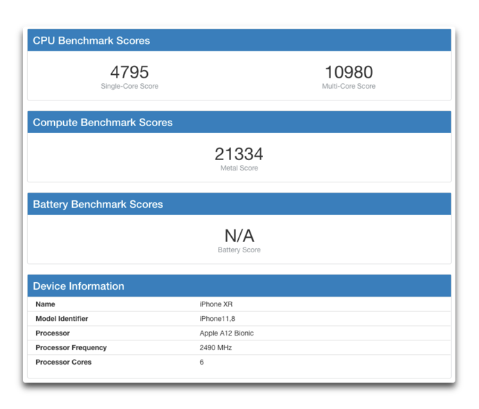 IPhone XR Geekbench 00001
