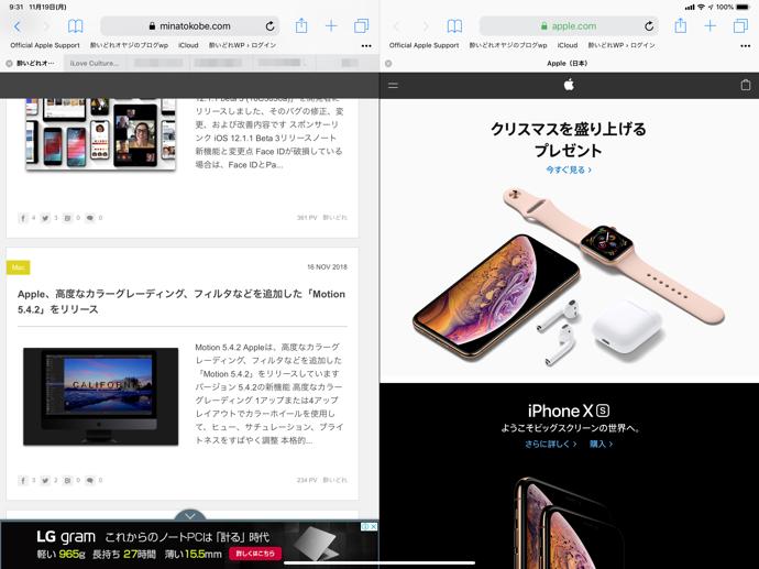 iPad、SafariでSplit Viewを利用する方法