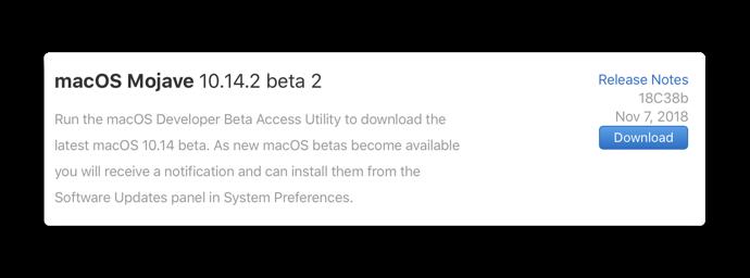 MacOS Mojave 10 14 2 beta 2 00001