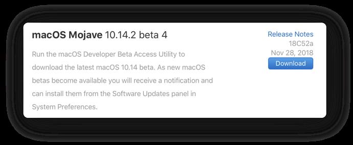 MacOS Mojave 10 14 2 beta 4 00001a