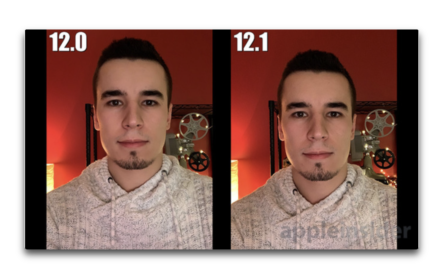 iPhone XS/XS Max、iOS 12とiOS 12.1でセルフ写真のスムージングエフェクトの違い
