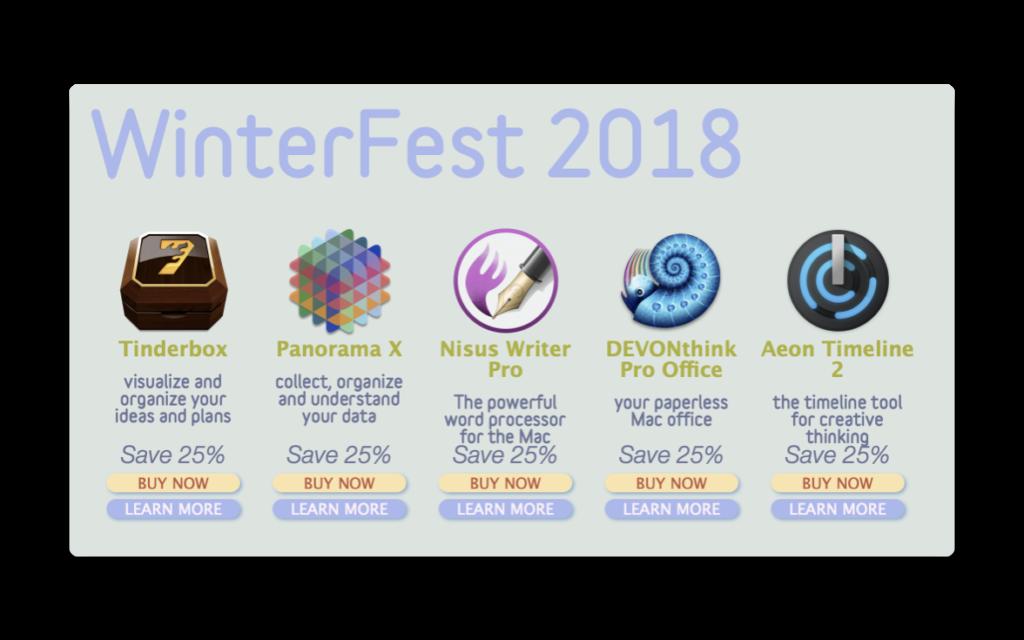 【Sale情報/Mac】WinterFest 2018で「Scrivener」「DEVONthink Pro Office」など18人気アプリが25%オフ