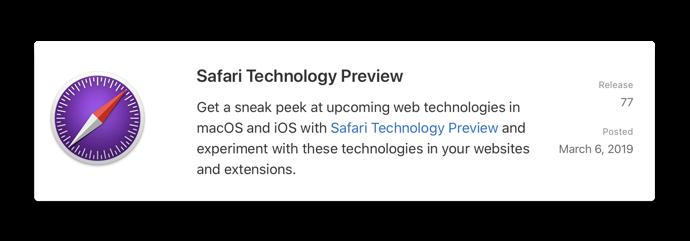 Safari Technology Preview 77 0000