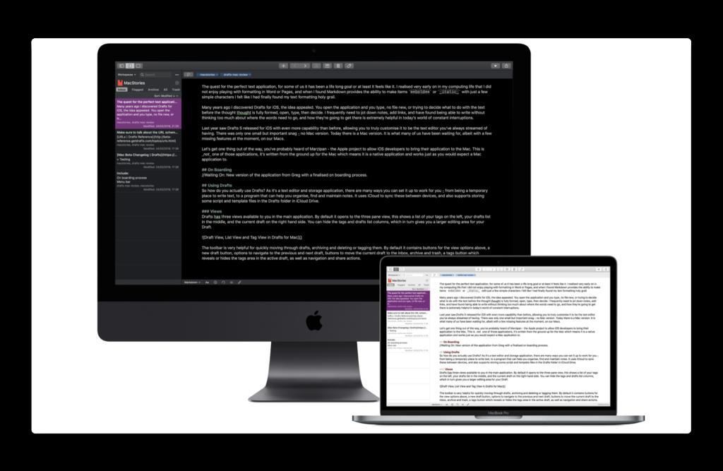 iOSで人気のDraftsの「Drafts for Mac」がリリースされています