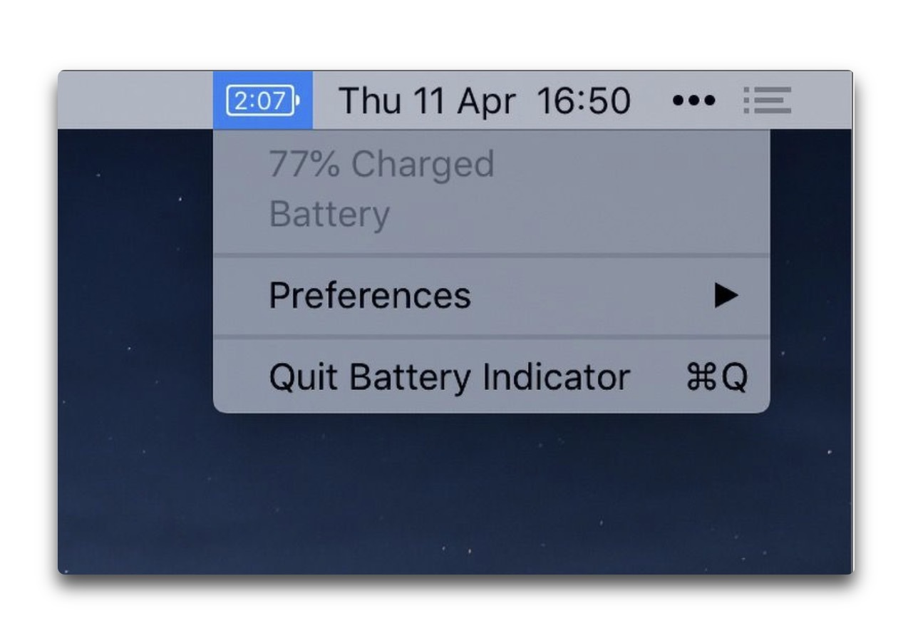 【Mac】バッテリの残りを表示「Battery Indicator」がアップデートで期間限定で無料