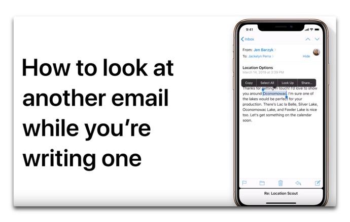 Apple Support、「iPhoneまたはiPadで下書きを書いている間にEメールを表示する方法」のハウツービデオを公開