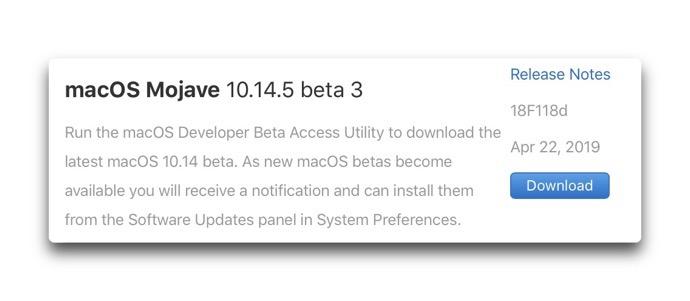 MacOS Mojave 10 14 5 beta 3 00001