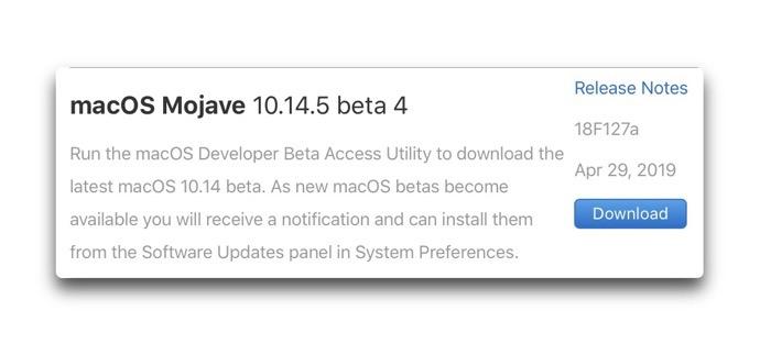 MacOS Mojave 10 14 5 beta 4 00001