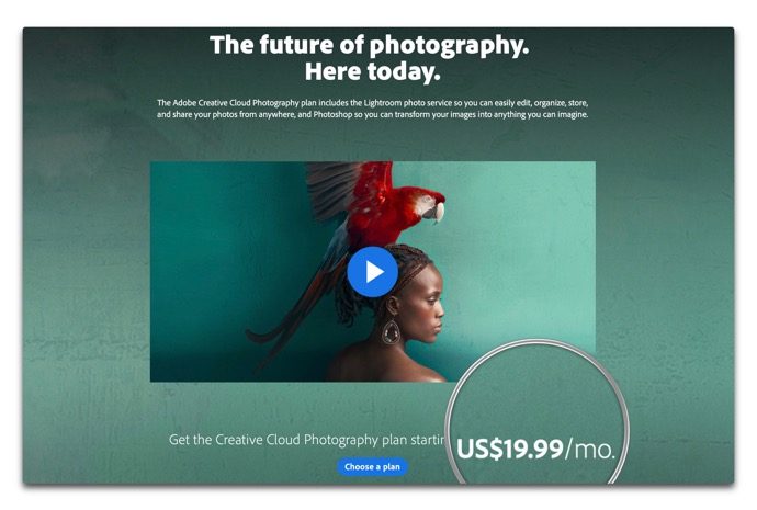 米国Adobe、PhotoshopとLightroomの「フォトプラン」の価格を倍増?