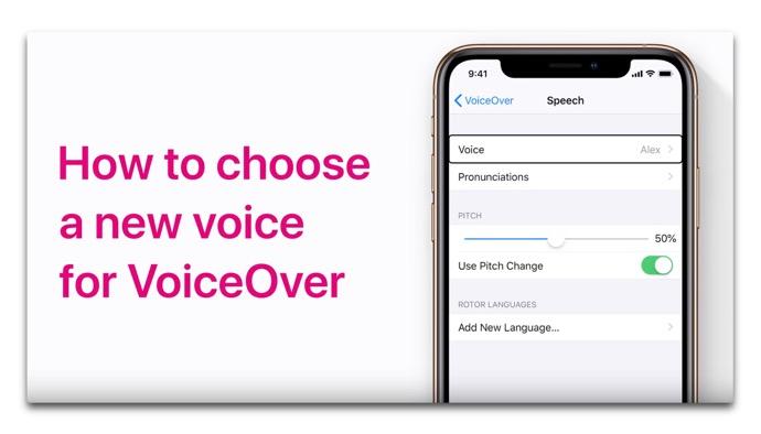 Apple Support、「iPhoneおよびiPadでVoiceOverの新しい音声を選択する方法」のハウツービデオを公開