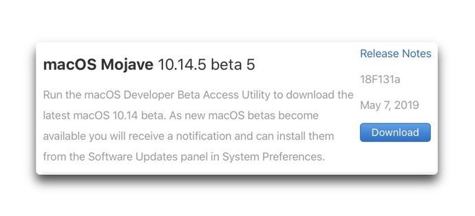 MacOS Mojave 10 14 5 beta 5 00001