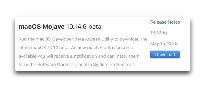 MacOS Mojave 10 14 6 beta 00001