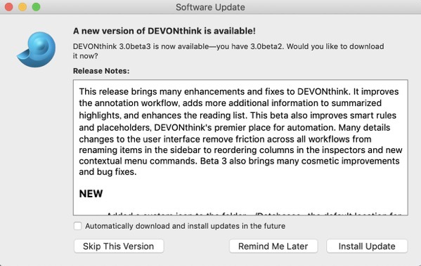 DEVONthink 3 0 Public Beta 3 00002