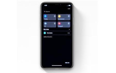 iOS 13、リマインダーアプリのダークモードのスクリーンショットが公開される