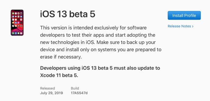 IOS 13 beta 5 00001 z