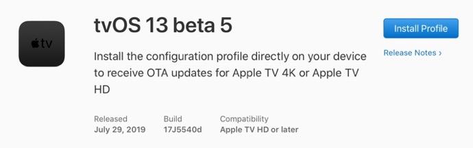 TvOS 13 beta 5 00001 z