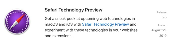 Safari Technology Preview 90 00001 z