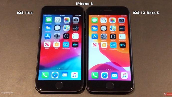 iPhone 6sとiPhone 7とiPhone 8でiOS 13 beta 5とiOS 12.4のスピードテストビデオを公開