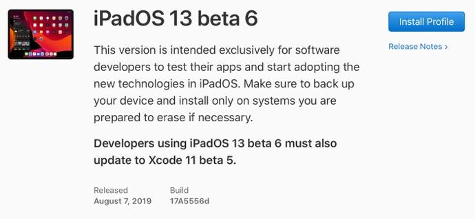 IPadOS 13 beta 6 00001 z