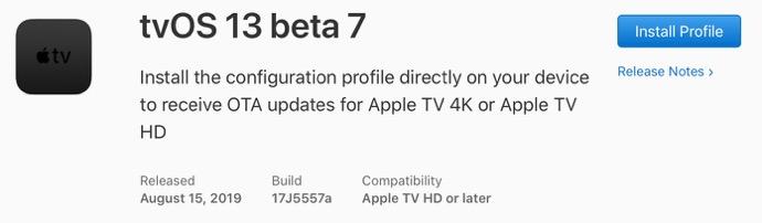 TvOS 13 beta 7 00001 z
