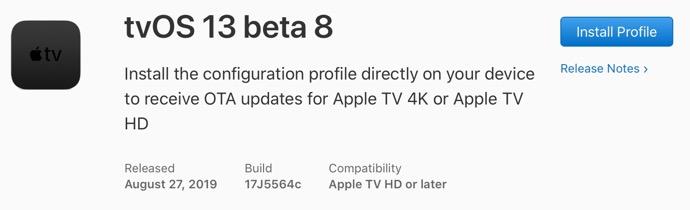 TvOS 13 beta 8 00001 z