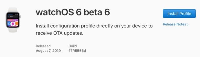 WatchOS 6 beta 6 00001 z