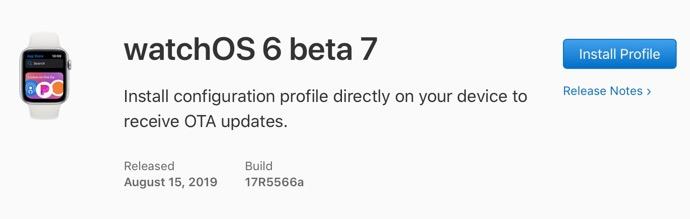 WatchOS 6 beta 7 00001 z