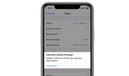 iPhone 11 とiPhone 11 Pro、純正でないApple Displayが修理に使用されている場合に警告を表示します