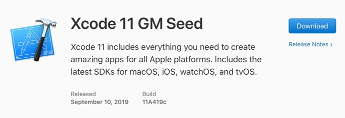 Xcode 11 GM Seed 00001 z