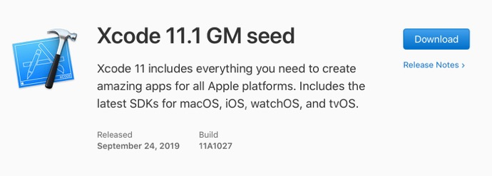 Xcode 11 1 GM seed 00001 z