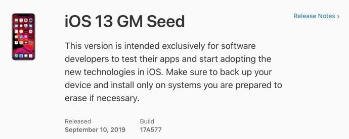 IOS 13 GM Seed 00001