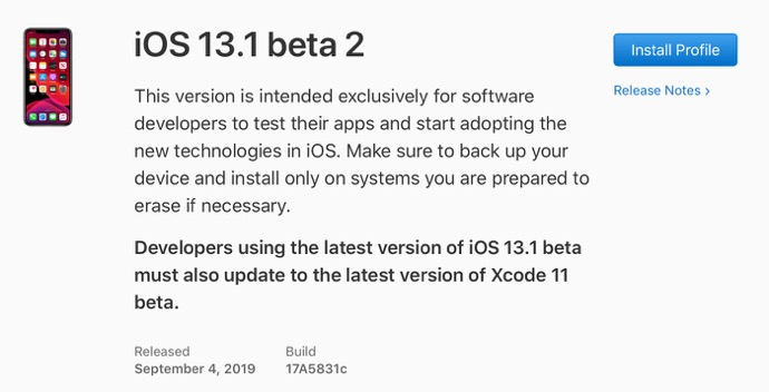 IOS 13 1 beta 2 00001 z