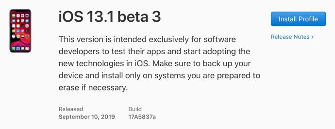 IOS 13 1 beta 3 00001 z