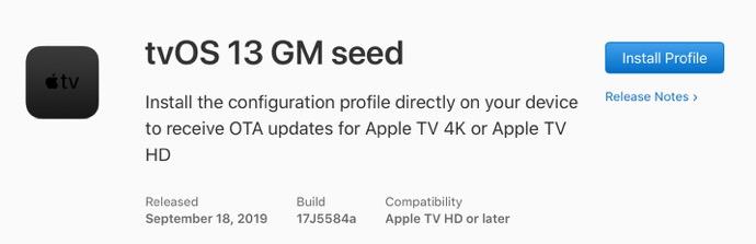 TvOS 13 GM seed 00001 z