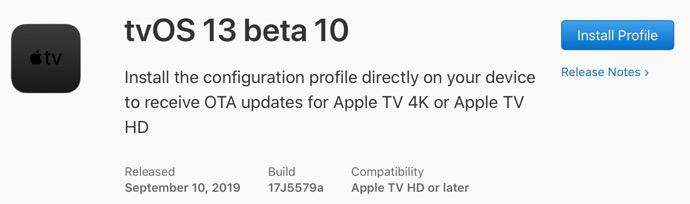 TvOS 13 beta 10 00001 z