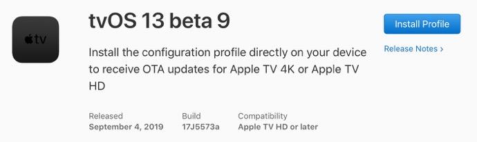 TvOS 13 beta 9 00001 z