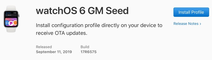 WatchOS 6 GM Seed 00001 z