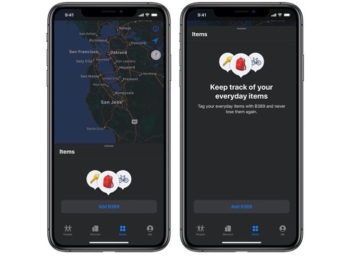 Appleの新しい「AirTag」スクリーンショットにより、アプリ「探す」のレイアウトを表示