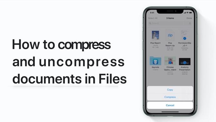 Apple Support、iPhone、iPadのファイル内のドキュメントを圧縮および圧縮解除する方法のハウツービデオを公開