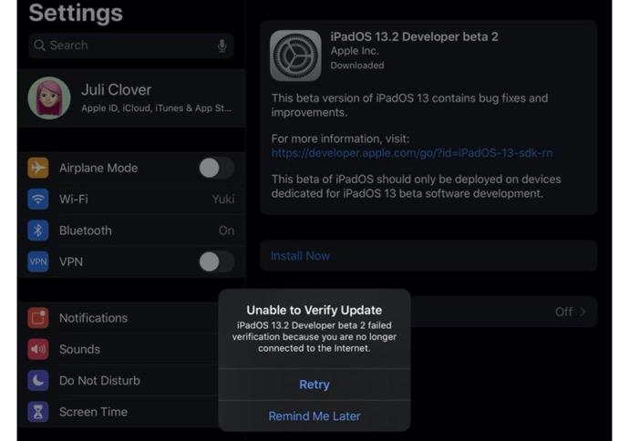 iPadOS 13.2 beta 2で一部のiPad Proモデルが文鎮化、アップデートが利用不可に