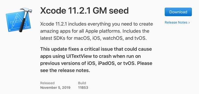 Xcode 11 2 1 GM seed 00001 z