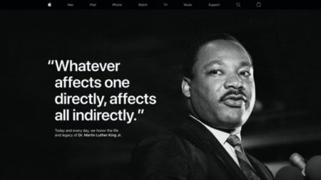 Apple、Martin Luther King Jr. Dayを記念してWebサイトのトップページで敬意を表わす