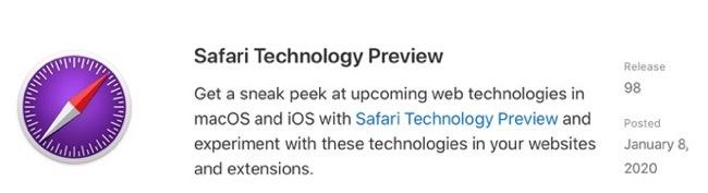 Safari Technology Preview 98 00001 z