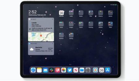 iPadOS 13.4 beta版では、ホーム画面のウィジェット「次の予定」に場所のマップを表示
